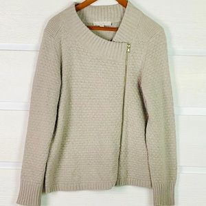LOFT Chunky Quilt Knit Sweater w/ Asymmetrical Zip